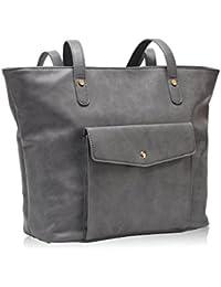 Hynes Victory Chic Handbag Purses Large Tote Bags For Women Grey
