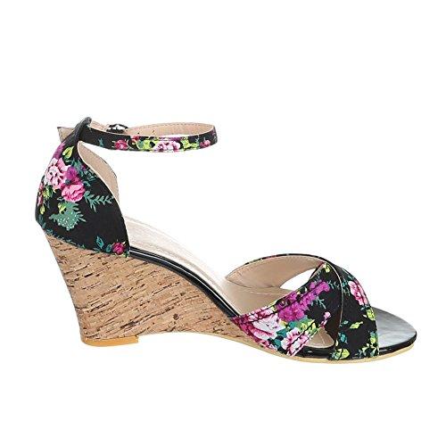 Damen Schuhe, 999-42, SANDALETTEN Schwarz Multi