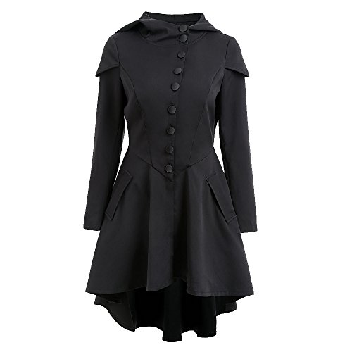 Bonboho Femme Manteau Capuche Trench-coat Gothique Lacets Veste avec Ourlet Asymétrique Rétro Automne Printemps S-XXL (Noir, S)
