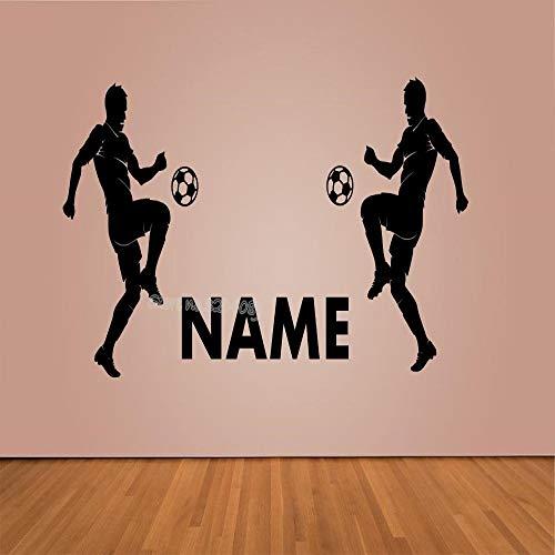 TYLPK Fußball spielen Wandaufkleber Personalisierte Benutzerdefinierte Name & Nummer Anpassen Fußball Vinyl Aufkleber Für Kinder Schlafzimmer Dekor Poster 60 cm x 30 cm -