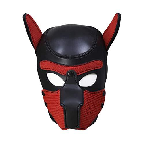 YC Vollgesichtsmaske Hund Welpe Kapuze Lederhelm Abnehmbarer Mund Cosplay Kostüm Party Requisiten mit Kragen Halsreifen,Black+redm