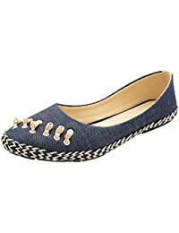 Elle Wings Women's Braided Pattern Synthetic Leather Blue Synthetic Leather Belly Shoes