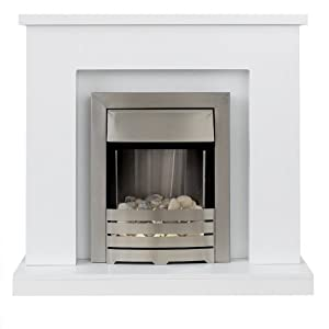 Adam Lomond White Surround with Brushed Steel Helios Electric Fire, 2000 Watt