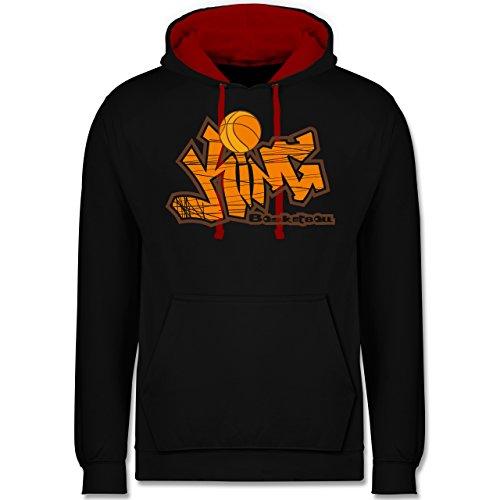 Basketball - Basketball King - Kontrast Hoodie Schwarz/Rot