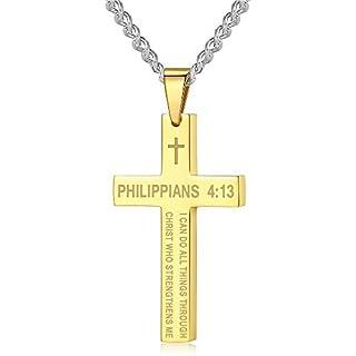 Amison Bible Verse Philippians 4:13 Cross Pendant Necklace Stainless Steel for Men Women Kids, 24