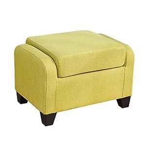 Ibuprofen Gepolsterter Fußschemel Wohnzimmer Sofa Bank mit Rückenlehne Flur Ändern Schuh Bank Multifunktionsstuhl Lässig Sitzstuhl 4 Holz Beine 23.6 * 17.7 * 16.5In, Grün