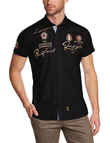 Redbridge Herren Regular Fit Freizeithemd R41604A Schwarz (Black 012)