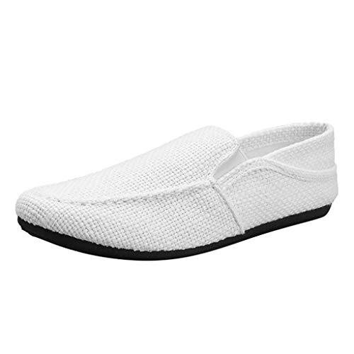 Bootschuhe Herren Freizeitschuhe Leinen Lofer Sportschuhe Breathable Volltonfarbe Fahren Bequeme Sneaker Lazy Peas Faule Schuhe, Weiß