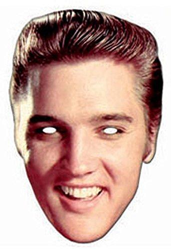 Elvis Kostüm Jungen (Elvis Presley Rock and Roll Pappmaske aus hochwertigem Glanzkarton mit Augenlöchern, Gummiband - Größe ca. 30x20)
