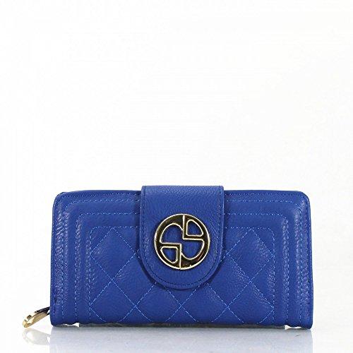 LeahWard® Kunstleder Damen nett Groß Klappe Geldbörsen Brieftasche Geldbörse Münze Tasche 1040 141 (Grün H10cm x W19cm x D3cm) blau Klappe mit magdot Schließung Geldbörse