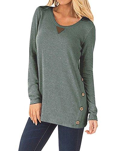 carinacoco Damen Langarmshirt Einfarbig Rundkragen Knöpfe T-Shirt Pullover Sweatshirt Oberteil Tops Grün