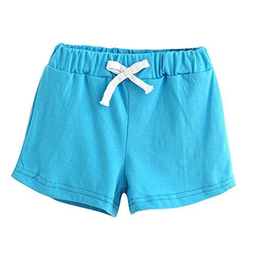 Bekleidung Longra Sommer Kinder Baumwoll Shorts Jungen Und Mädchen Kleidung Baby Mode kurz Sporthosen(2-6Jahre) (120CM 5Jahre, Sky Blue) -