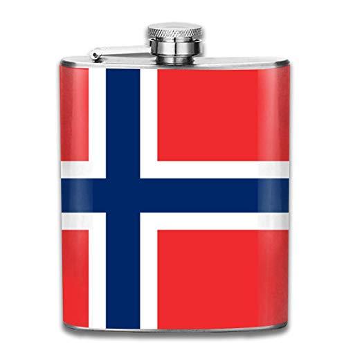 Edelstahlflaschen 7 Unze Norwegische Flagge Whisky Glaskolben Dichtheitsprofil Wein Männer Frauen (Gläser Wein Großhandel)