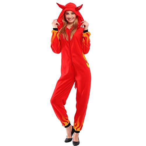 EraSpooky Damen Roter Teufel Kostüm Einteiler Faschingskostüme Cosplay Halloween Party Karneval Fastnacht Kleid für Erwachsene