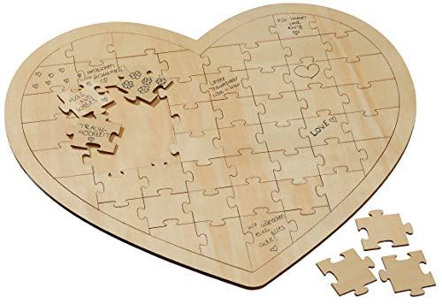 Bada Bing DIY Gästebuch Herz Puzzle Bilderrahmen Wunschherzpuzzle Holz Ca. 45 x 46 cm Hochzeit Individuelles Geschenk Inkl. 49 Puzzleteile 83