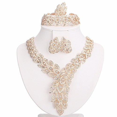 Moochi 18K Gold Plated Big Scarf-Shaped Crystal Chain Necklace / Earrings / Ring / Bracelet Jewelry Set