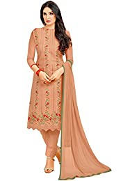 Rajnandini Women's Pure Cambric Cotton Embroidered Dress Material(JOPLMF2013_Light Brown_Free Size)
