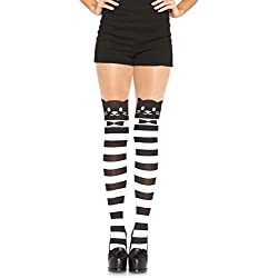 Leg Avenue Mujer Leotardos Blanco y Negro Horizontal rayas con gato Print One Size 38hasta 40