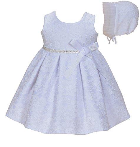 Cinda Baby-Mädchen-Spitze-Tauf-Party-Kleid mit Mütze Weiß 68-80(Ohne bolero)