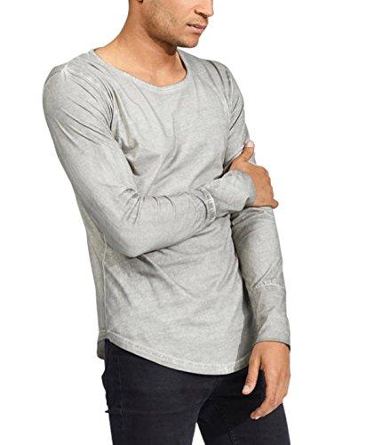 trueprodigy Casual Herren Marken Long Sleeve einfarbig Basic, Oberteil cool und stylisch mit Rundhals (Langarm & Slim Fit), Langarmshirt für Männer in Farbe: Dunkelgrau 1053144-5203 Dark Grey