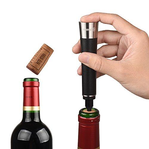 Qishare Eleganter Luftdruck Weinflaschenöffner( Edelstahl-Schlüsselloch,beweglicher Schneider ) Tragbare Flaschenpumpen Korkenzieher Weinzubehör Cork Out Tool