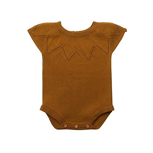 Livoral Kurzer ärmelloser Bodysuit für Kinder, solide Strickknöpfe mit rundem Hals, warmes Einteiler(Gelb,0-3 Monate)