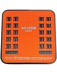 40 Puertos USB Universal Multi USB Cargador rápido 200W 40A Base de Carga con Pantalla LCD