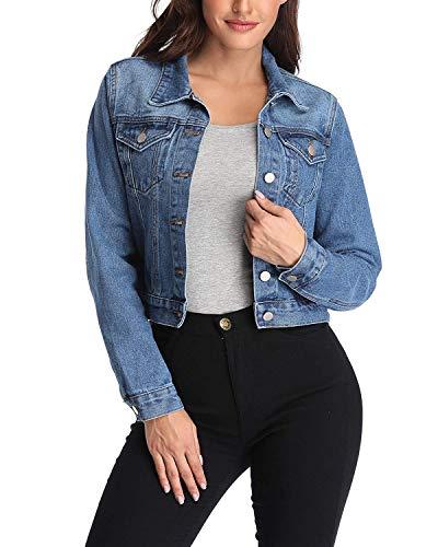ANIENAYA Blaue Denim Jacken für Damen Jean Mäntel geknöpft Buttoned Down Klassische Mantel Western Taschen Casual Lange Ärmel Plain Outwear - M -