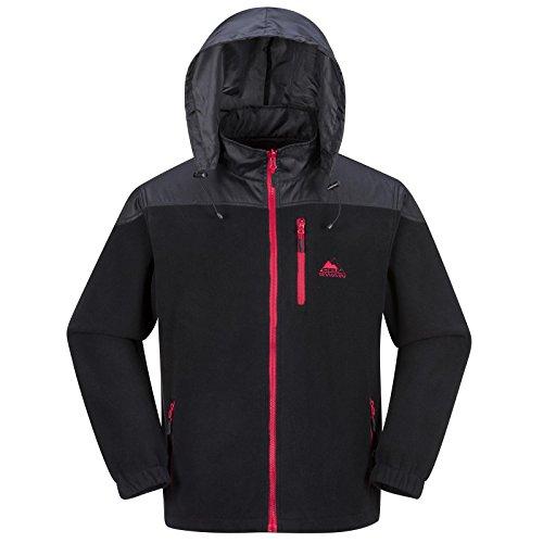 Cox Swain Herren Fleece Jacke Trail (Titanium Series), Colour: Black/Red Zipper, Size: XL (Allen Cox)