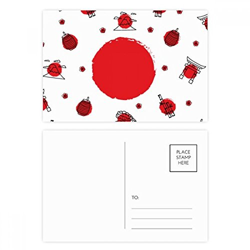 DIYthinker Japan Kultur NationalFlaggege Laterne Postkartenset Geburtstag dankt Karte Mailing Side 20pcs 5.7 Zoll x 3.8 Zoll Mehrfarbig