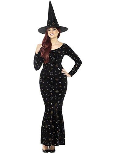 Smiffys Damen Deluxe Schwarze Magie Hexen Kostüm, Velours Kleid und Hut, Größe: 40-42, 45120 -