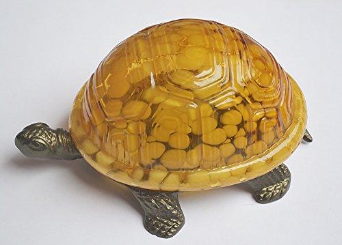 Schildkröte Tiffany-stil Lampe (Gelb Glas Stil Schildkröte Lampe mit Metall Basis 8x5.5x4 Zoll)