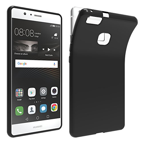LONVIPI® Cover Nera Huawei P9 LITE Custodia Black ANTIURTO Sottile Anti Scivolo In Silicone Flessibile Gel Gomma TPU MORBIDA Slim Protettiva HD Bumper