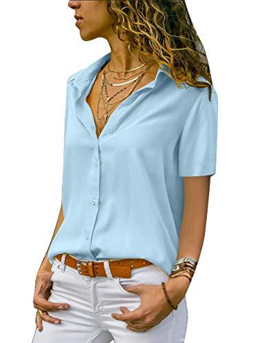 Yieune Chiffon Bluse Elegant Damen Kurzarm V-Ausschnitt Casual Oberteile Hemd Lose Shirt(Blau 3XL) -