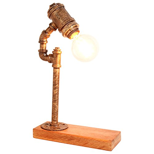 homelx American Retro Industriel Style Creative Lampe de Fer Nostalgique Solide Lampe de Table en Bois, Salon Bar Bureau d'étude Lampe de Bureau, Chambre Lampes de Lecture de Chevet, Base de Lampe en Bois, Lampe de Pipes, Lampe Réglable, E27