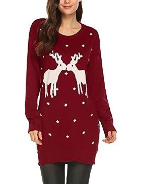 Damen Weinachten Kleid Strickkleid Pullover Festlich Partykleid Weihnachtspulli Rentier Schneeflocken Christmas...