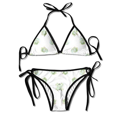 Osmykqe Womens Sexy Bikini Sets Bathing Swimsuits Tie Back Blueberries and Bumble Bees III Fabric Flower Print Black -