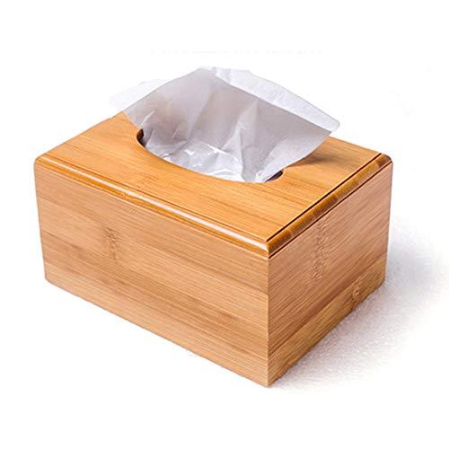 ZinESaya Caja de pañuelos Cuadrada de bambú de Estilo Moderno Tipo de Asiento Creativo Papel de Rollo Papel higiénico Bote Decoración de Mesa de Madera ecológica