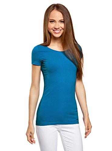 oodji Ultra Damen Tagless Tailliertes T-Shirt Basic (2er-Pack), Blau, DE 38/EU 40/M (Kurzarm-shirt Blau)