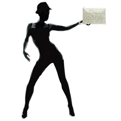 CASPAR TA358 Donna Pochette Grande con Strass bianco crema