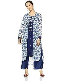 Alto Moda By Pantaloons Women's Cotton A-Line Pant Kurta Dupatta