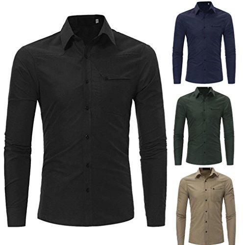 Tops & Shirts für Herren , Sansee Art und Weise Beiläufiges Sünnes Song Sleeved Hemd Oberseiten Bluse (L, T0977 Schwarz)