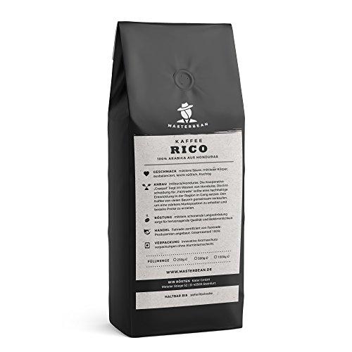 Masterbean RICO Premium Kaffee I ganze Kaffeebohnen geröstet I frische, schonende Langzeitröstung...