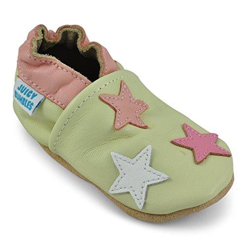 lernschuhe - Krabbelschuhe - Babyhausschuhe - Sterne 18-24 Monate (Größe 24/25) (Hausschuhe Für Mädchen)