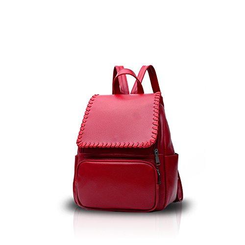 NICOLE&DORIS Elegant Damen Rucksack Daypacks Schulrucksack Reisen Tasche Für Outdoor Wasserdicht PU Rotwein Rotwein