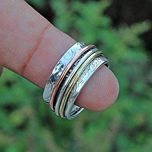 Meditationsringe, Spinnerringe, Silberringe für Frauen, Beautiful Designer Spinning Ring for Women, Anxiety Ring for Meditaion, 925 Sterling Silver Band, Brass and Copper Spinner Ring for Women
