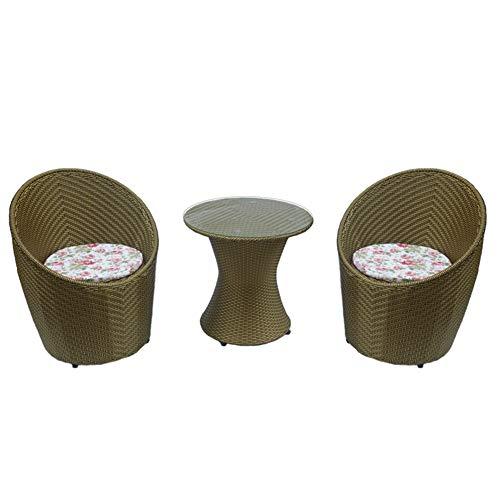 3-teiliger Outdoor Stuhl Patio Rattan Korb Bistro Möbel Set Garten Gespräch mit Kaffee Schaukeln Zwei Stücke Moderne Stühle und Kissen - Modernes Bistro Set