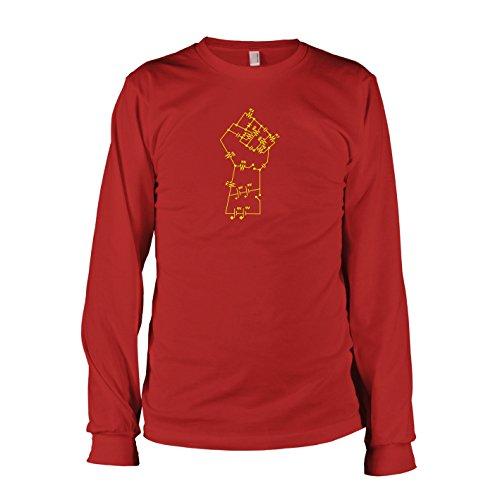 (TEXLAB - Elektronik Faust - Herren Langarm T-Shirt, Größe XXL, rot)