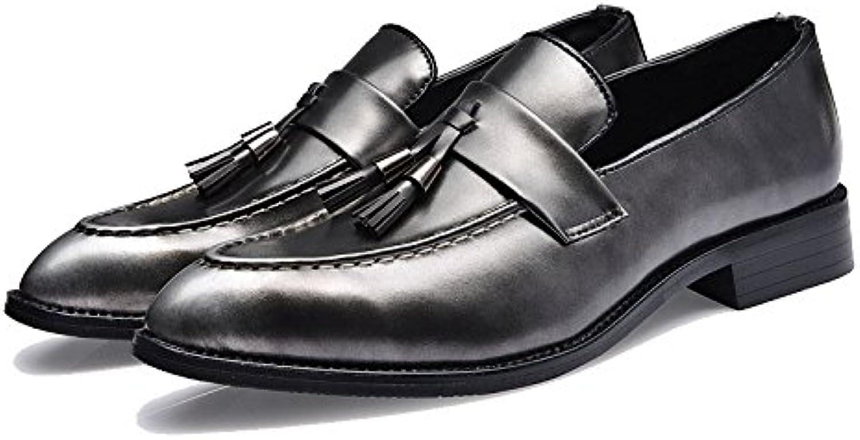 ZPFDY Zapatos De Cuero del Cordón De La Moda Retro Informal Tallada Bullock De Hombres  -