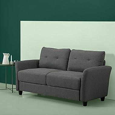Zinus Ricardo Loveseat, modernes gepolstertes Sofa, 160 cm breit, Dunkelgrau